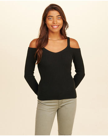 hol Slim Cold Shoulder Sweater