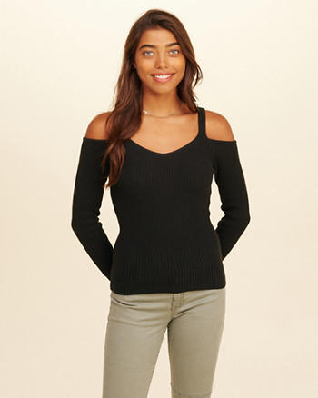 Slim Cold Shoulder Sweater