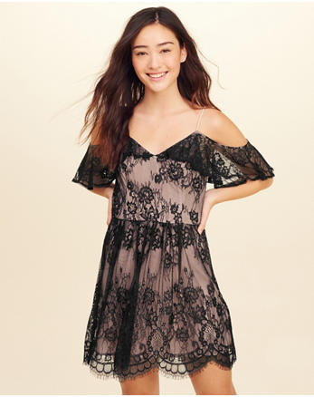 hol Cold Shoulder Lace Dress