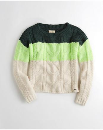 hol Colorblock Cable Crewneck Sweater