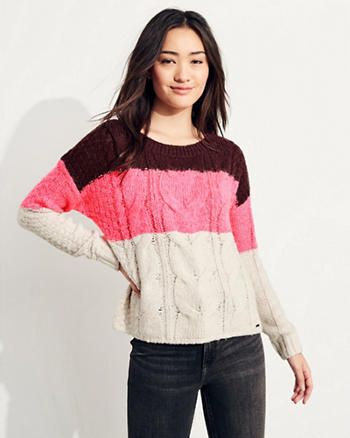 Colorblock Cable Crewneck Sweater