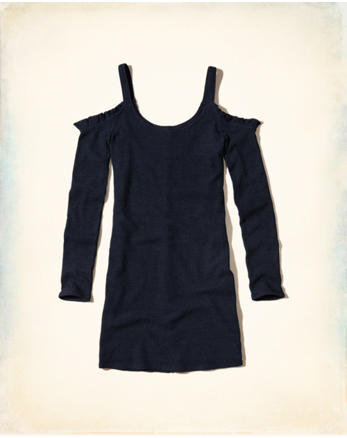 hol Ruffle Cold Shoulder Bodycon Dress