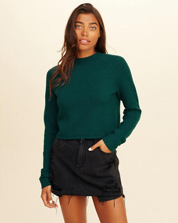 Mockneck Crop Sweater