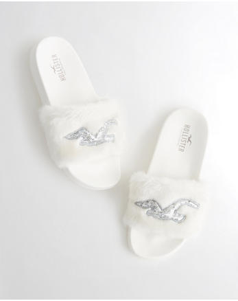 hol Faux Fur Slide Sandals