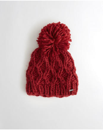 hol Pom Cable Knit Beanie