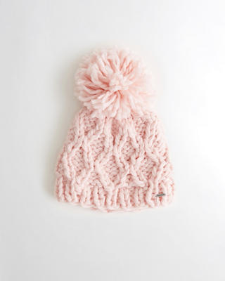 Pom Cable Knit Beanie