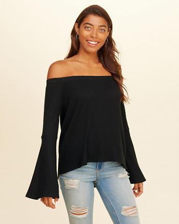 Bell-Sleeve Off-The-Shoulder Waffle Top