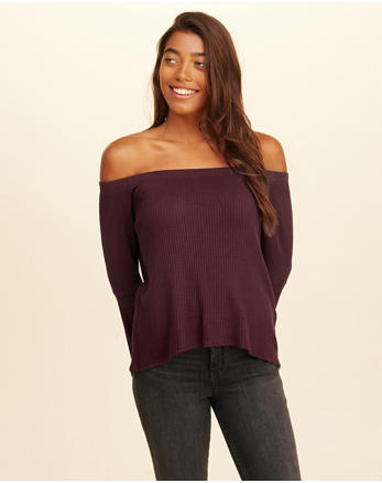 hol Bell-Sleeve Off-The-Shoulder Waffle Top