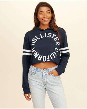 hol Hooded Crop Graphic Tee