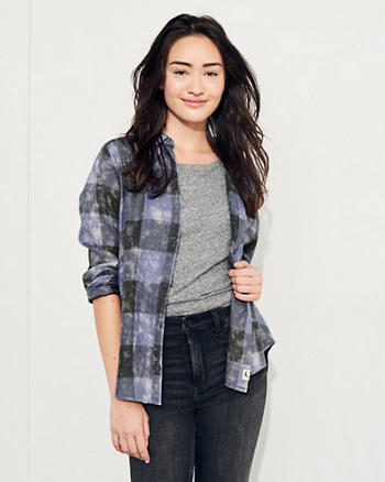 Acid Wash Oversized Flannel Shirt