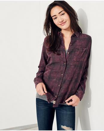 hol Acid Wash Oversized Flannel Shirt