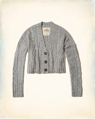 Crop Cable Cardigan