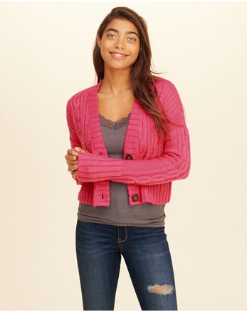 hol Crop Cable Cardigan