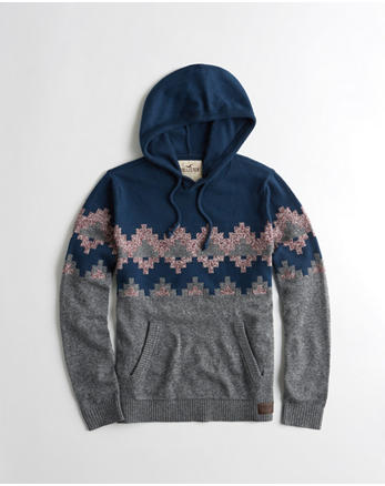 hol Patterned Hooded Sweater