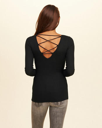Strappy Back Slim T-Shirt