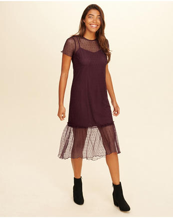 hol Ruffle Mesh Midi Dress