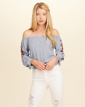 Tie-Sleeve Off-The-Shoulder Top