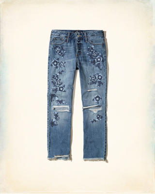 High-Rise Vintage Straight Ankle Jeans