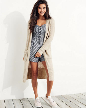 Textured Duster Cardigan