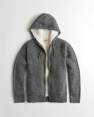 Sherpa-Lined Hooded Sweater
