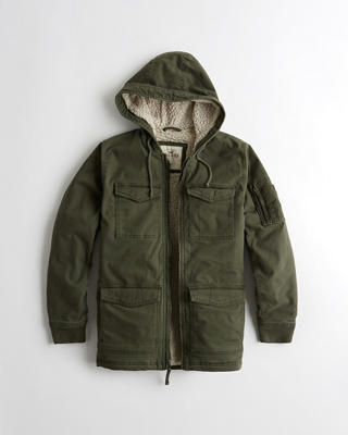 Sherpa-Lined Twill Utility Jacket