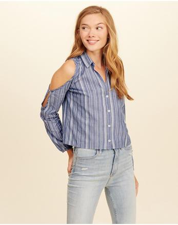 hol Cutout Woven Shirt