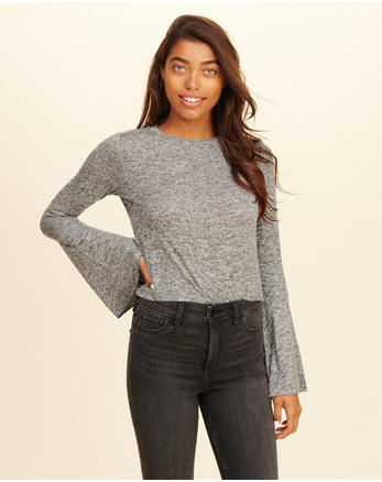 hol Bell-Sleeve Crop Top