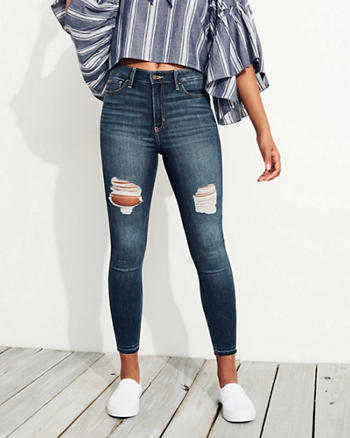 Stretch High-Rise Crop Super Skinny Jeans