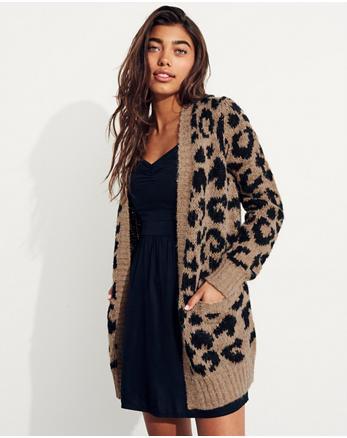 hol Leopard Fuzzy Knit Cardigan