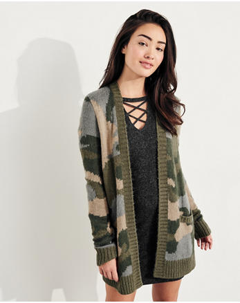 hol Patterned Fuzzy Knit Cardigan