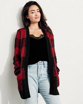 Patterned Fuzzy Knit Cardigan