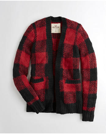 hol Patterned Fuzzy Knit Cardigan