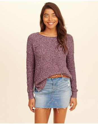 hol Waffle-Stitch Crewneck Sweater