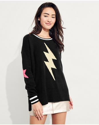 hol Patterned Oversized Crewneck Sweater