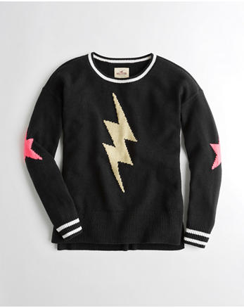 hol Patterned Oversized Crewneck Sweater
