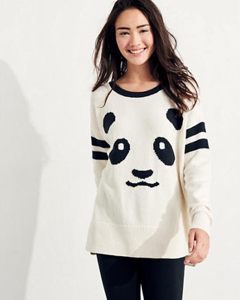 Patterned Oversized Crewneck Sweater
