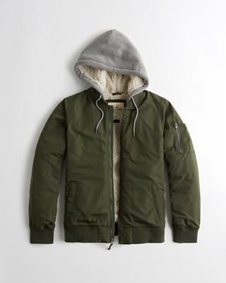 Sherpa-Lined Hooded Bomber Jacket