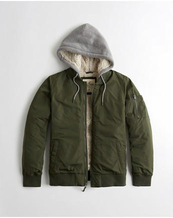 hol Sherpa-Lined Hooded Bomber Jacket