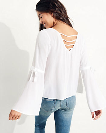 Woven Bell-Sleeve Top