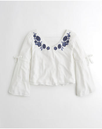 hol Woven Bell-Sleeve Top