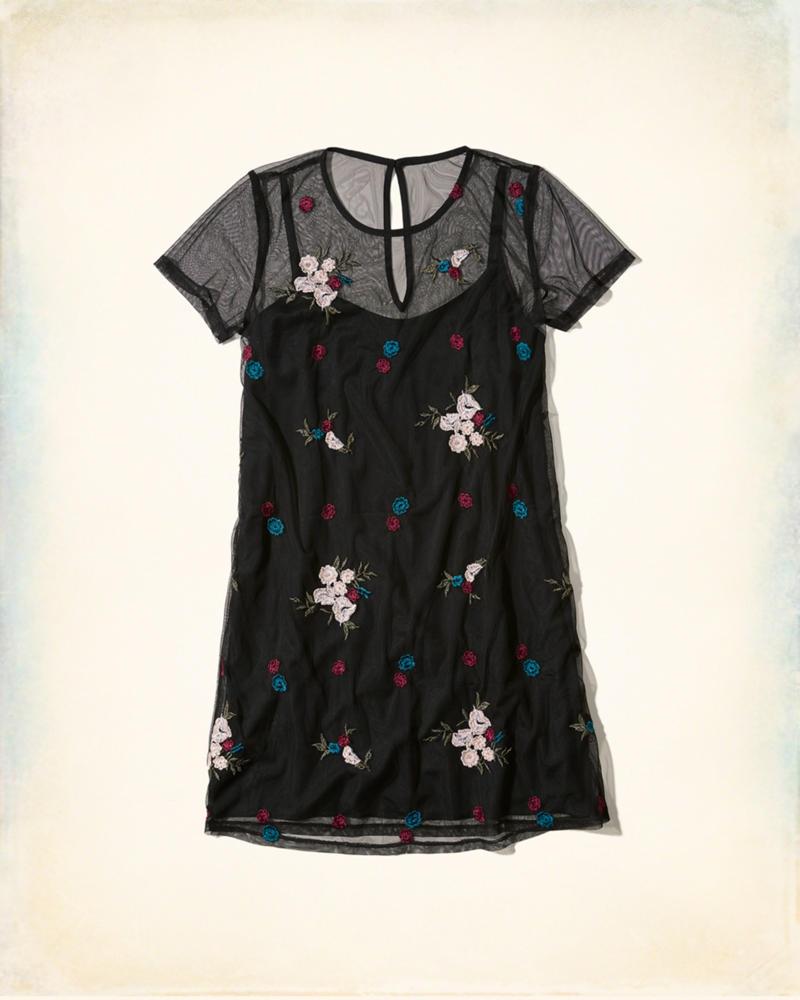 Girls embroidered mesh t shirt dress girls new for Embroidered mesh t shirt