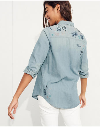 hol Embroidered Oversized Denim Shirt