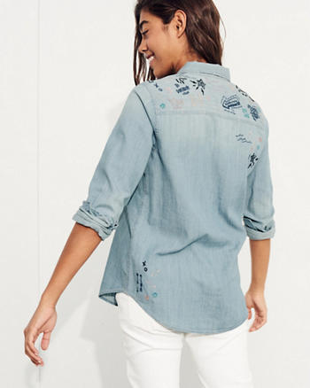 Embroidered Oversized Denim Shirt