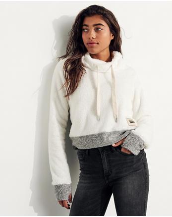 hol Sherpa Crop Cowlneck Sweatshirt