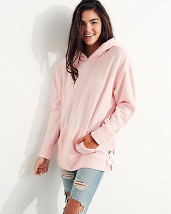 Lace-Up Oversized Hoodie