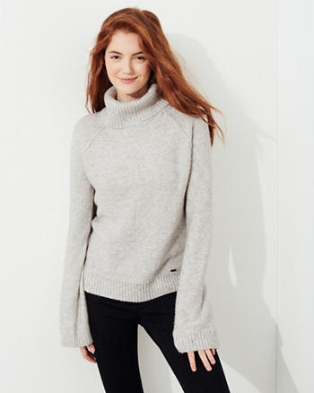 Bell-Sleeve Turtleneck Sweater