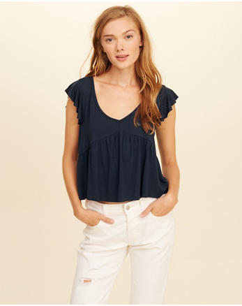 hol Flutter-Sleeve V-Neck Top