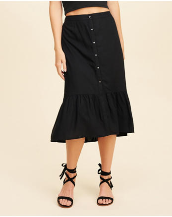 hol Ruffle Button-Front Midi Skirt