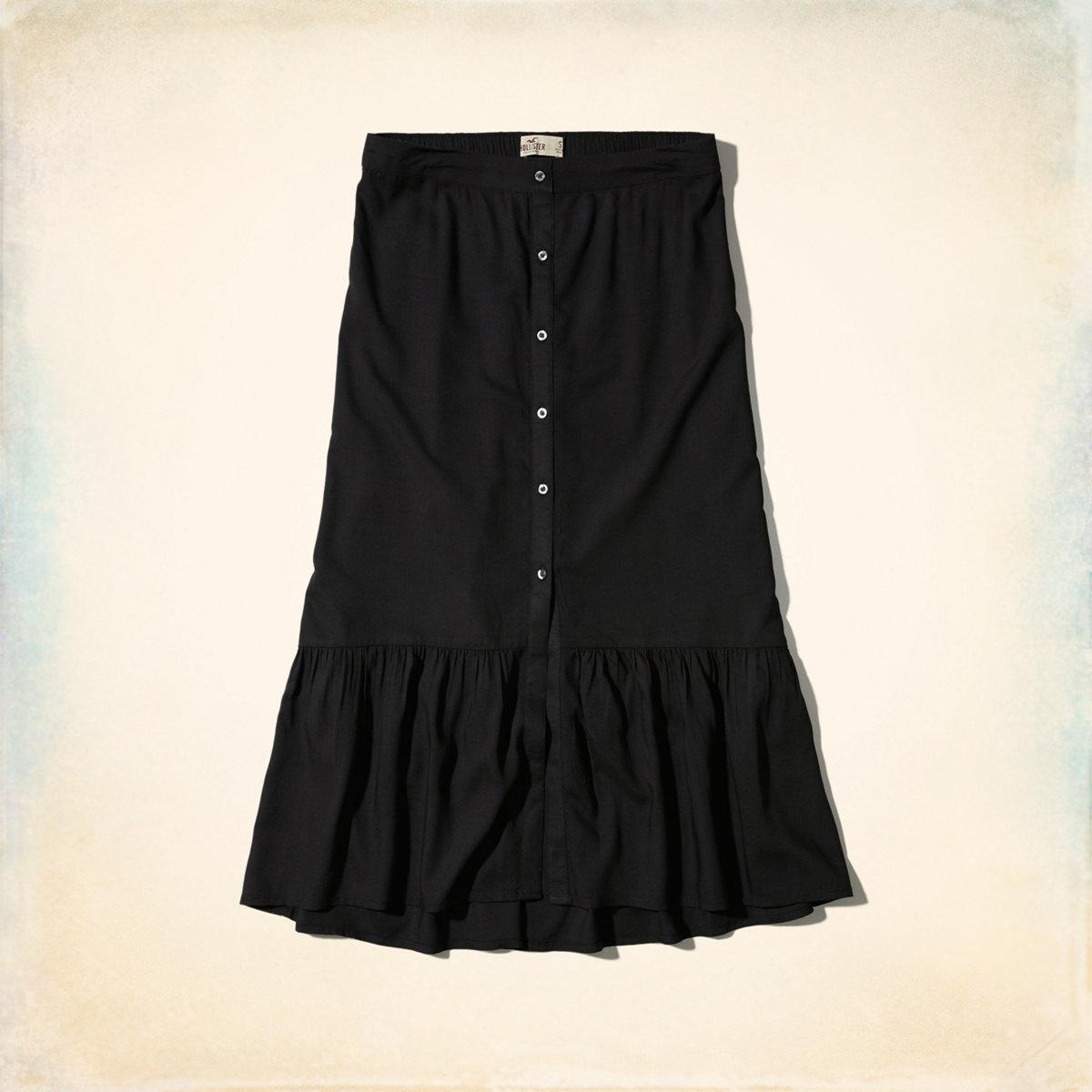 Ruffle Button-Front Midi Skirt