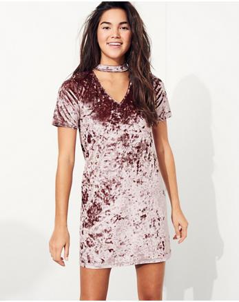 hol Velvet Choker T-Shirt Dress